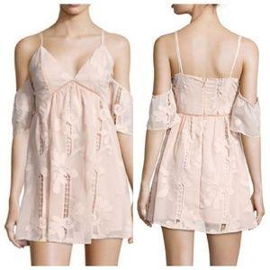 Lovers+Friends blush cold shoulder dress